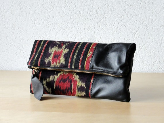 Leather Clutch in Black Italian Leather and Handwoven Ikat Fabric - Indie Patchwork Series