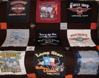 Harley T-Shirt Quilt custome made for Carol