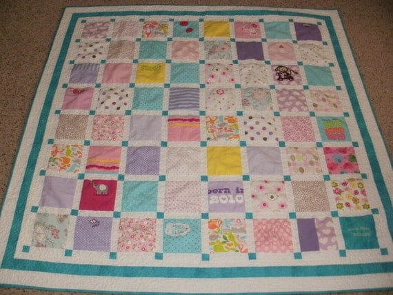 Baby Clothing quilt custom made for Avery