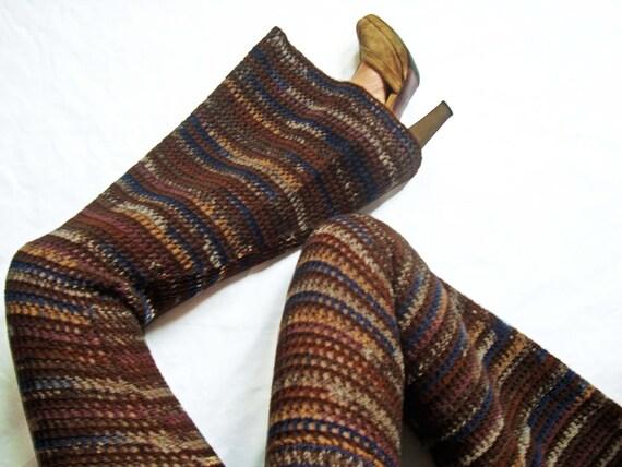 Woodsmaiden Wool Crochet Bell Bottom Pants / Flared Leggings - Size Small