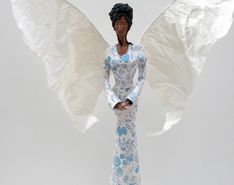 Angel tree topper - beautiful angel doll - ooak angel - one of a kind paper mache sculpture