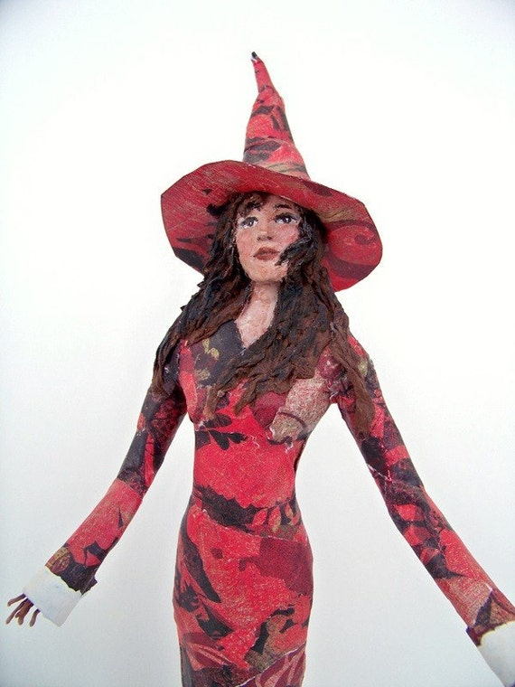Red Witch II - ooak paper mache sculpture - tree topper witch - christmas witch - RESERVED