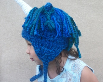 CHRISTMAS in JULY SALE - Unicorn Hat in True Blue - Fairytale Costume Hat, Cosplay Halloween Hat,