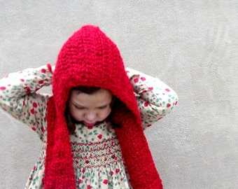 CHRISTMAS in JULY SALE - Little Red Riding Hood - Hat, Scarf, Scood, Cherry Red, Autumn Scarf