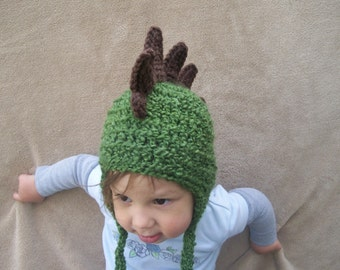 Dragon Hat in Olive Green - Chocolate Brown Spikes, Dinosaur Hat, Rawr