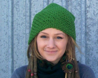 The Slouch Beanie in Grass Green - Saggy Beanie, Indie Hat, Woodland Hiking Gear