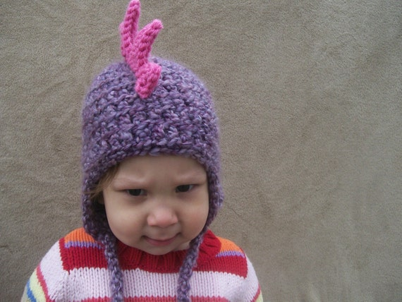 Dragon Hat in Lilac with Bright Pink Spikes 6-24 Months