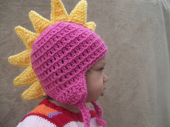 Dragon Hat in Bright Pink with Lemon Yellow Spikes 2T-4T