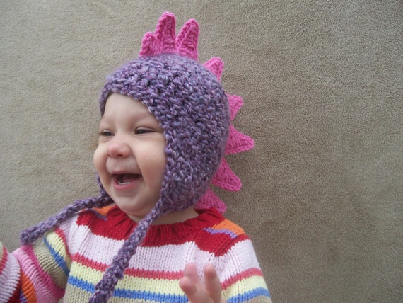 Ready to Ship - Last Minute Gift - Dragon Hat in Lilac - Dino Hat for Girls, Sweetly Ferocious, Rawr