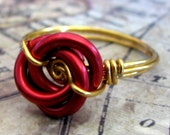 Red Rose Wire wrapped chain maille knot ring Cherry Red Rose knot on your choice size hand made wire wrapped shank hypoallergenic