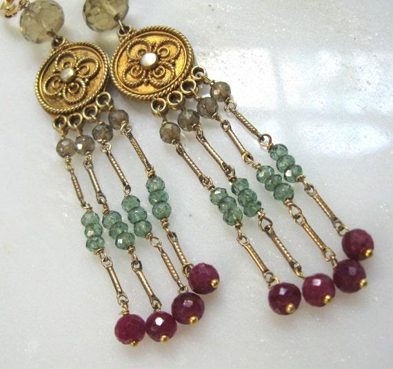 Flapper Style Extra Long Ruby, Green and Mystic Quartz, Whiskey Quartz, 22kg vermeil earrings...