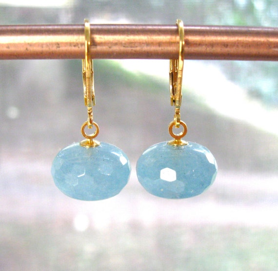 Intensely Sea Blue Aquamarine Brignolette Everyday Bauble Earrings in your choice of 22kg vermeil or silver...