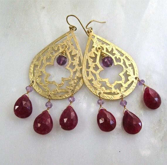 Raspberry Ruby, African Amethyst, Hammered Gold Oversized Chandelier earrings...