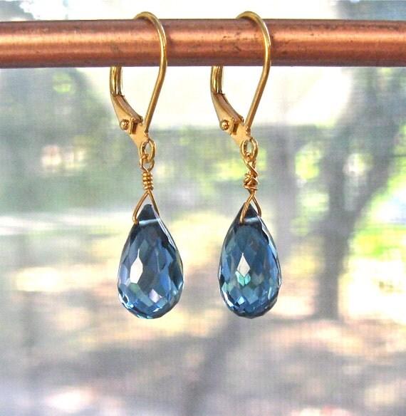 London Blue Topaz Teardrop Simplicity earrings in silver or 14k gold fill....