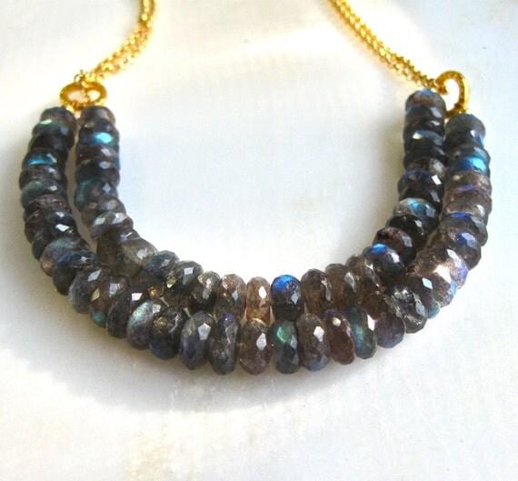 Amazing, Brilliant Blue Labradorite Double Strand Faceted Focal Necklace, 22kg Vermeil...