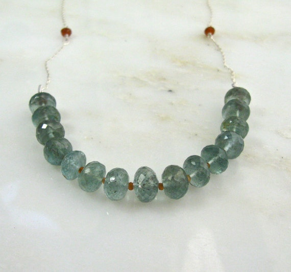 Remarkable Moss Aquamarine Faceted Focal Necklace, Orange Sapphire, Sterling Silver...