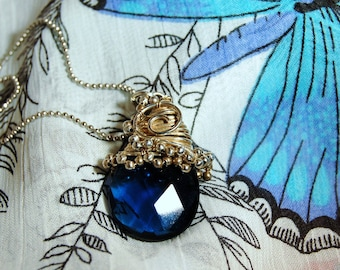 Sapphire Swirled in Silver Necklace