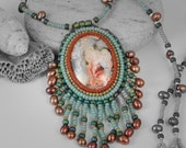 """Handmade tribal beaded crazy lace turquoise and copper necklace by Lori Lochner """"boho summer bead embroidered goddess adornment :)"""""""