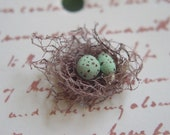 Bird Nest Tags Set of 10 with teal eggs BUY 2 SETS GET 1 SET FREE