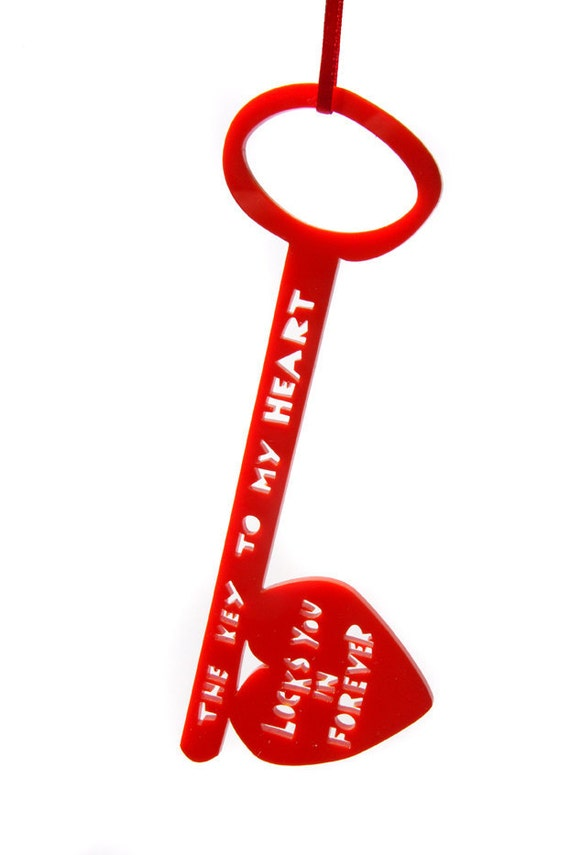 The Key To My Heart Locks You In Forever, Red Acrylic Key