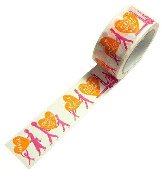 Two Colour Fragile tape (Pink and Orange)