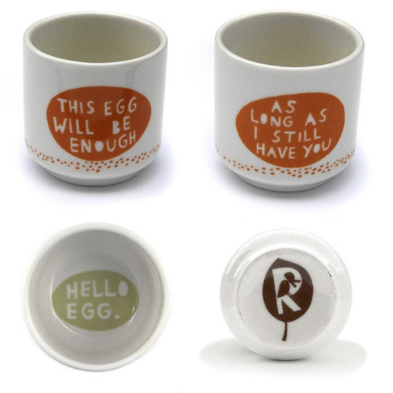 This egg will be enough.... Egg cup in burnt orange