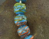 SALE Handmade Lampwork Glass Bead Set -Caribbean- (5) by Jason Powers SRA