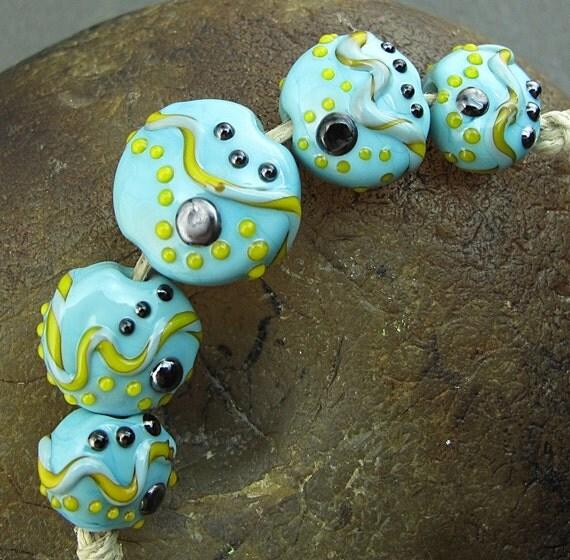 Handmade Lampwork Glass Bead Set (5) -Blue Spacecraft- by Andrea Pirkey SRA