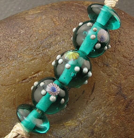 SALE Handmade Lampwork Glass Bead Set (5) -Sea Green Orbits- by Andrea Pirkey SRA