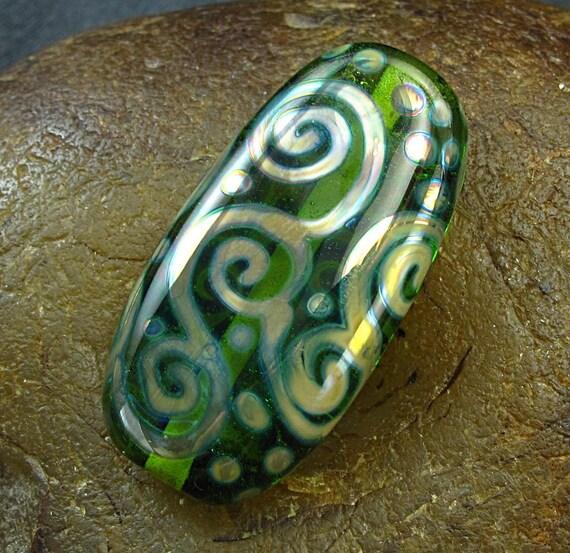 Handmade Lampwork Glass Focal Bead -Silver Scrolls- by Jason Powers SRA