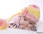 Crochet Hat Stocking Cap Elf Hat You Choose Your Colors Triple Rose Flower