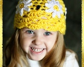 Crochet Hat Pattern Yellow DaisyChilds 2t - 7 yrs Instant Dowload Permission to Sell Finished Product No.12