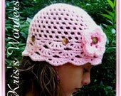 Crochet Hat Pattern Fan Hat Childs 2t-7yrs Pink and Brown Button Permission to Sell No.14