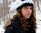 Crochet Cap or Slouch Hat Adult Medium to Large Daisy and Feathers Turned up Brim