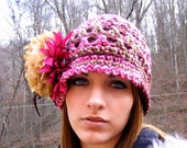 Vintage Inspired Crochet Hat Flapper Cloche Warm Toque with Flowers and Feathers Ready to Ship Womans Hat with Flower and Feathers