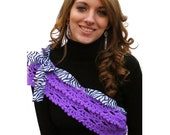Infinity Crochet Scarf Pattern Cowl Pattern Shawlette Purple with  Zebra Ribbon and Bow Clip Tutorial Instant Download No. 46