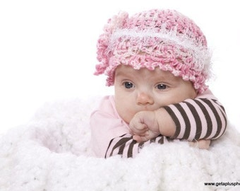 Crochet Hat Pattern Pink Infant Baby Preemie to Adult Instant Download PDF Permission to Sell Finished Product No.17