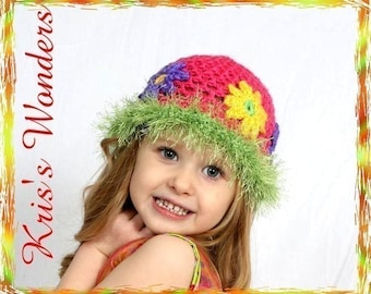 Crochet Hat Pattern Retro Daisy 2 toddler thru 7 yrs Pink Yellow Green Purple Permission to Sell Finished Product No.22