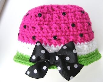 Crochet Hat Patterns Watermelon Bucket Style Cloche Newborn Thru Adult Small PDF Easy No.16
