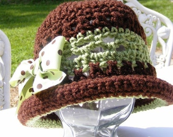 Baby Crochet Hat Pattern - Rolled Brim Bow Green Brown 18 mo thru Adult - PDF Instant Download No.23