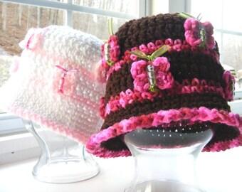 Crochet Hat Pattern - Butterfly Crochet Pattern - Tutorial on Beaded Butterflies - Baby Crochet Pattern - No.36