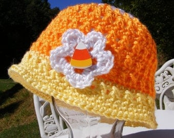 Candy Corn Crochet Hat Pattern Newborn to Adult Small Easy Triple or Single Flower  Permission to Sell No.26