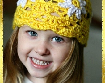 Crochet Pattern Child Fan Daisy Hat 2t-7 yrs Permission to Sell Finished Product Instant Download No.12