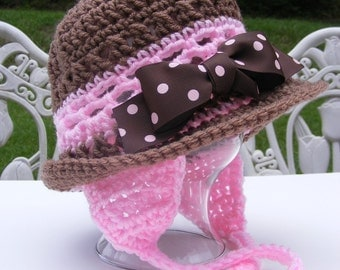 Crochet Hat Patterns - Pink Brown Earflap Hat with Bow - Rolled Brim - 12 mo thru Adult Permission to Sell No.24
