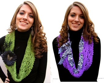 Bundle Crochet Scarf Pattern Infinity Cowls Zebra Ribbon and Pull Bow Vintage Inspired Black Daisy Clip & Pin No. 48