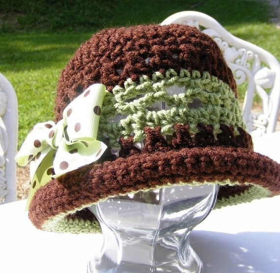 Crochet Brim Toddler Hat Pattern : Baby Crochet Hat Pattern Rolled Brim Bow Green Brown 18 mo