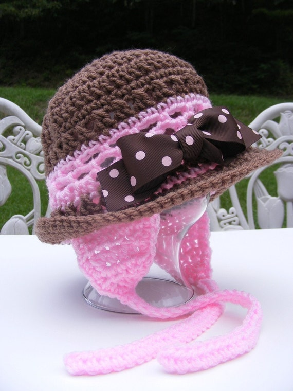 Crochet Hat Patterns Pink Brown Earflap with Bow Rolled Brim 12 mo thru Adult Permission to Sell No.24