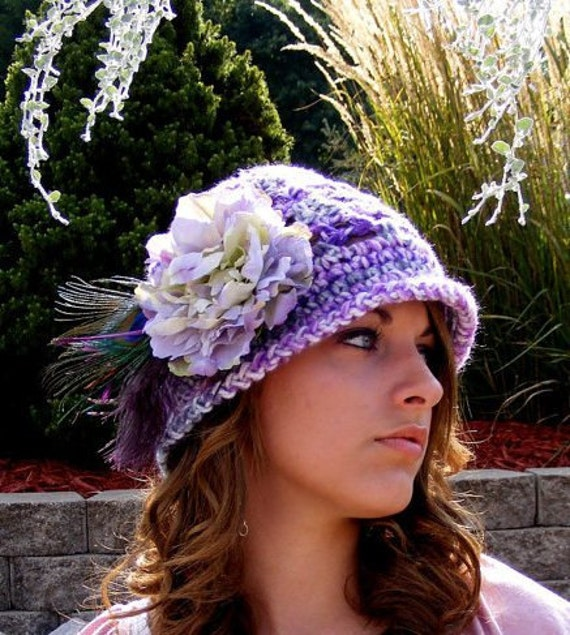 Crochet Hat Pattern: Vintage Inspired Cloche Toque Easy Preemie thru Adult with Tutorial on Feather Flower Placement Instant Download No.41