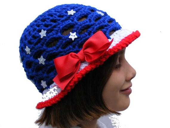 SALE 2.00 thru June 1st - Crochet Hat Patterns - Patriotic and Watermelon Sun Hat Crochet Pattern Pack - Baby thru Tween Size - No. 53