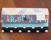 Quilted fabric Wallet in Primary Colors.